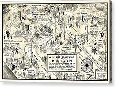 Harlem Prohibition Nightclub Map 1926 Acrylic Print