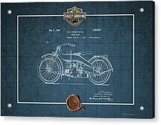 Acrylic Print featuring the digital art Harley-davidson 1924 Vintage Patent Blueprint  by Serge Averbukh