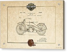 Acrylic Print featuring the digital art Harley-davidson 1924 Vintage Patent Document  by Serge Averbukh