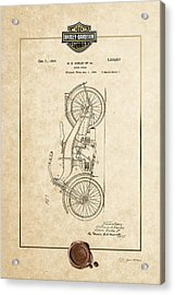 Acrylic Print featuring the digital art Harley-davidson 1924 Vintage Patent Document With 3d Badge by Serge Averbukh
