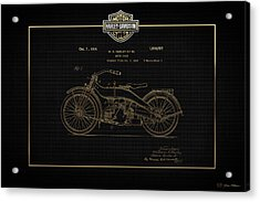 Acrylic Print featuring the digital art Harley-davidson 1924 Vintage Patent In Gold On Black by Serge Averbukh