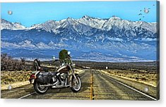 Harley Davidson Heritage Motorcycle On The Doorstep Of The Rockies, Colorado Acrylic Print
