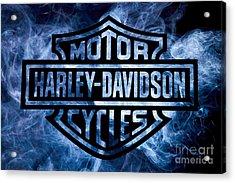 Harley Davidson Logo Blue Acrylic Print by Randy Steele