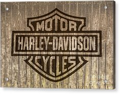 Harley Davidson Logo On Wood Acrylic Print
