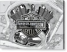 Acrylic Print featuring the digital art Harley-davidson Motorcycle Engine Detail With 3d Badge  by Serge Averbukh