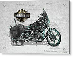 Acrylic Print featuring the digital art Harley-davidson Motorcycle With 3d Badge Over Vintage Patent by Serge Averbukh