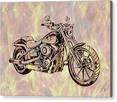 Acrylic Print featuring the mixed media Harley Motorcycle On Flames by Dan Sproul