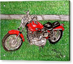 Acrylic Print featuring the painting Harley Red Sportster Motorcycle by Kathy Marrs Chandler