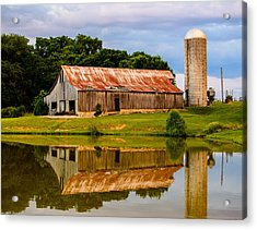 Harlinsdale Barn Reflection Acrylic Print by Jim Diamond