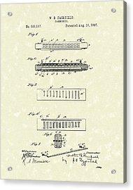 Harmonica Fairfield 1897 Patent Art Acrylic Print