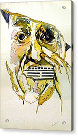 Harmonica Player Acrylic Print by Mindy Newman