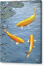 Acrylic Print featuring the photograph Harmony - Golden Koi by Gill Billington