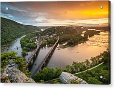 Harpers Ferry National Historical Park Maryland Heights Sunset Acrylic Print by Mark VanDyke