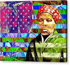 Harriet Tubman Underground Railroad American Flag 20160422 Acrylic Print by Wingsdomain Art and Photography