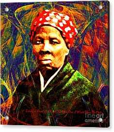 Harriet Tubman Underground Railroad In Abstract 20160422 Square With Text Acrylic Print by Wingsdomain Art and Photography