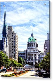 Harrisburg Pa - Capitol Building Seen From State Street Acrylic Print