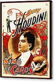 Harry Houdini - King Of Cards Acrylic Print by Bill Cannon