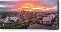 Hartford Ct Downtown Sunset Aerial Panorama Acrylic Print