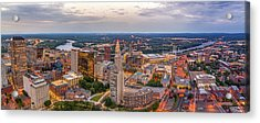 Hartford Ct Downtown Twilight Panorama Acrylic Print