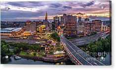 Hartford Ct Riverside And Downtown Twilight Aerial Panorama Acrylic Print