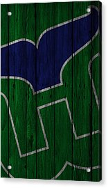 Hartford Whalers Wood Fence Acrylic Print