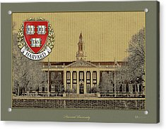 Harvard University Building Overlaid With 3d Coat Of Arms Acrylic Print