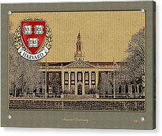 Harvard University Building With Seal Acrylic Print