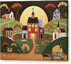 Harvest Hayride Acrylic Print by Mary Charles