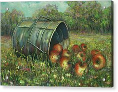 Acrylic Print featuring the painting Harvest With Red Apples by Katalin Luczay