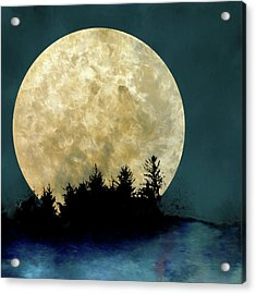 Harvest Moon And Tree Silhouettes Acrylic Print by Carol Leigh
