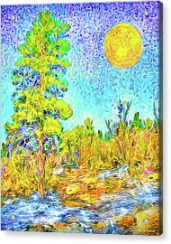 Acrylic Print featuring the digital art Harvest Moon On Crystal Mountain - Boulder County Colorado by Joel Bruce Wallach