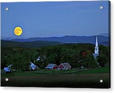 Harvest Moon Over Peacham Vermont Acrylic Print