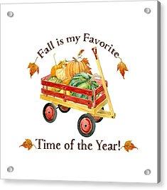 Harvest Red Wagon Pumpkins N Leaves Acrylic Print