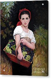 Harvesting The Grapes Acrylic Print