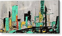 Acrylic Print featuring the painting Hashtag City by Carmen Guedez