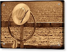 Hat And Lasso On A Fence Acrylic Print