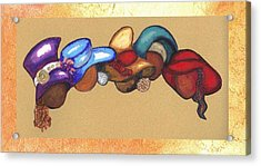 Acrylic Print featuring the mixed media Hat Ladies by Alga Washington