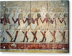 Hatshepsut Temple Parade Of Soldiers Acrylic Print by Aivar Mikko