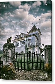 Haunted House And A Cat Acrylic Print by Carlos Caetano