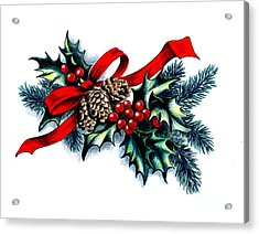 Have A Holly Holly Christmas Acrylic Print by Tobi Czumak