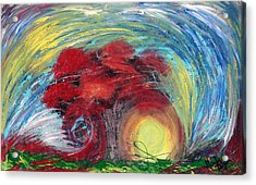 Havoc Winds And Strong Tree Acrylic Print by Michelle Teague