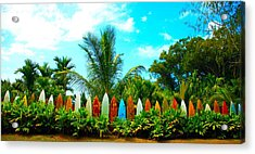 Hawaii Surfboard Fence Photograph  Acrylic Print by Michael Ledray