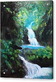 Hawaiian Waterfalls Acrylic Print by Jenny Lee