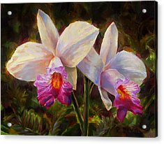 Acrylic Print featuring the painting Hawaiian Bamboo Orchid by Karen Whitworth