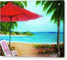 Hawaiian Beach Wave Art Print Painting #441 Acrylic Print by Donald k Hall