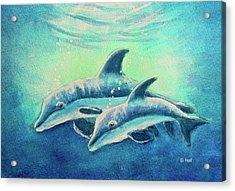 Hawaiian Dolphins  #389 Acrylic Print by Donald k Hall