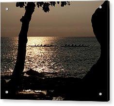 Hawaiian Dugout Canoe Race At Sunset Acrylic Print