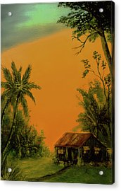 Hawaiian Homestead Sunset #05 Acrylic Print by Donald k Hall