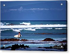 Hawaiian Seascape With Surfer Acrylic Print