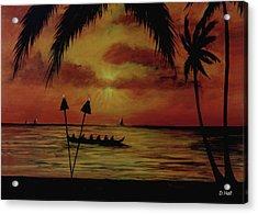 Hawaiian Sunset Paddlers #283 Acrylic Print by Donald k Hall